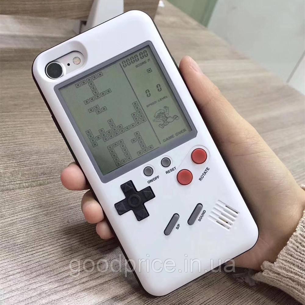 Чехол панель TETRIS CASE LAUDTEC WANLE для смартфонов Apple iPhone X с игрой Тетрис Белый