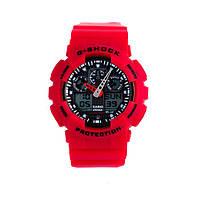 Неубиваемые спортивные наручные часы Casio G-shock GA-100 разных цветов Красный Черный Красный, фото 1