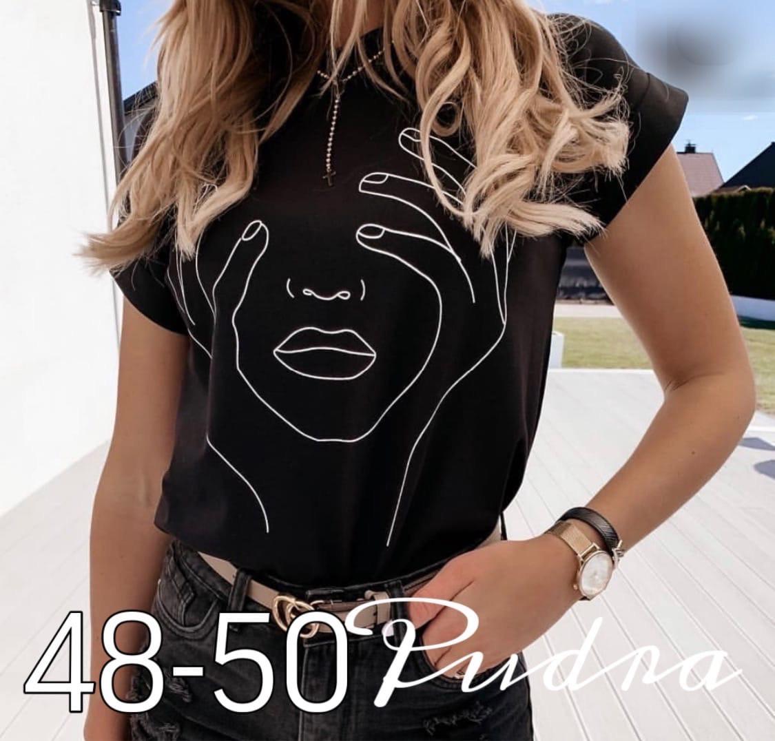 Женская футболка батал, х/б, р-р универсальный 48-50 (чёрный)
