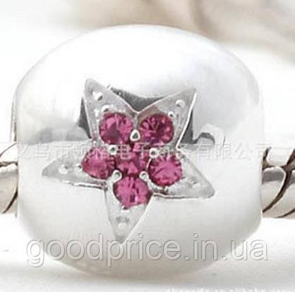 "Шарм бусина Pandora (Пандора) ""Розовая звездочка"""