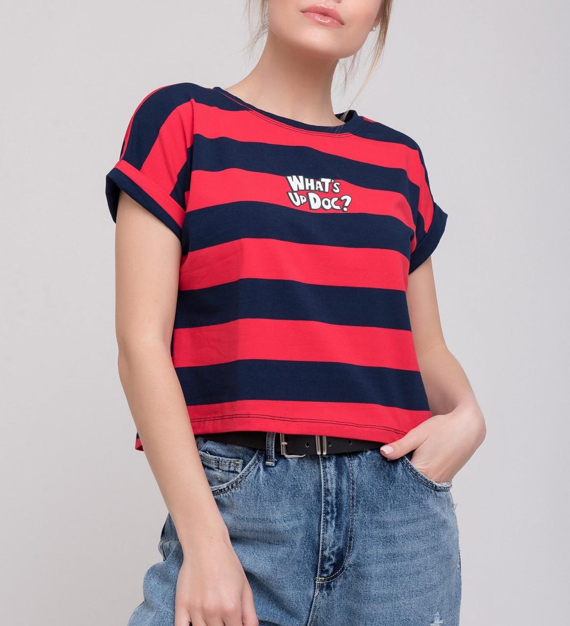 Женская футболка в яркую полоску