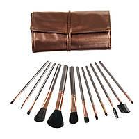 Набор кистей для макияжа в чехле 12 шт, Декоративная косметика для лица