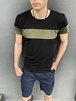 """Комплект Футболка """"Color Stripe"""" черная - хаки + Шорты Miami синие Intruder, фото 1"""