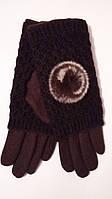 Женские перчатки кашемир + вязанные митенки с пушком