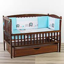 Бортики подушки слоник бірюзового кольору