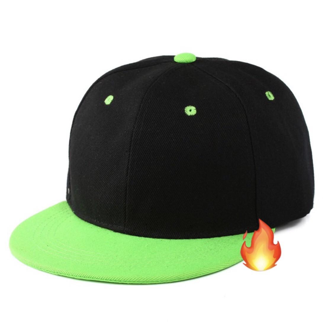 Кепка с прямым козырьком однотонная черная зеленая салатовая