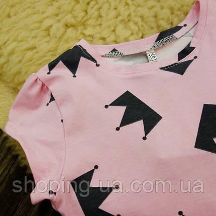 Детская футболка розовая с коронами Five Stars KD0289-134p, фото 2