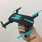 Складной квадрокоптер JUN YI TOYS JY018 дрон с камерой 0.3Mp WiFi Черно-Синий, фото 5