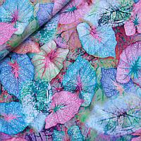 Штапель неоновые листья, ш. 140 см, фото 1