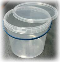 Пластиковое ведро 5л. круглое, прозрачное, герметичное, с контрольной пломбой, ручкой и крышкой