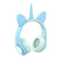 Навушники LINX LX-LW200 Bluetooth Cat Ear з вушками Єдиноріг LED Блакитний (6114)