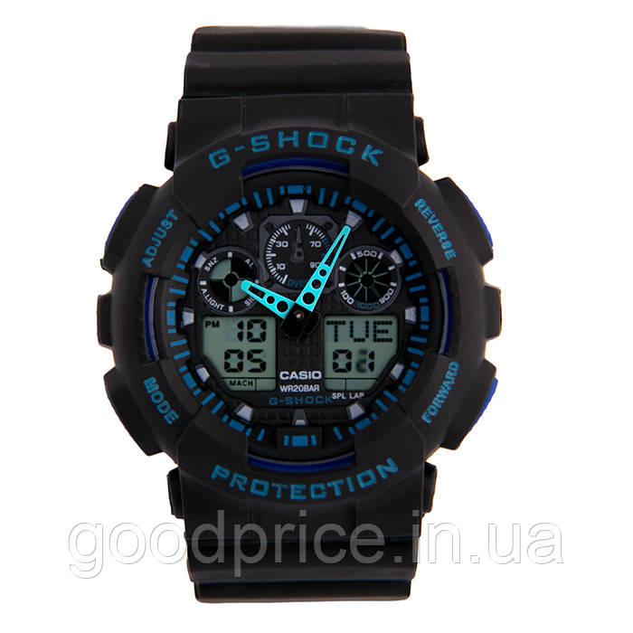 Неубиваемые спортивные наручные часы Casio G-shock GA-100 разных цветов Синий Черный Черный