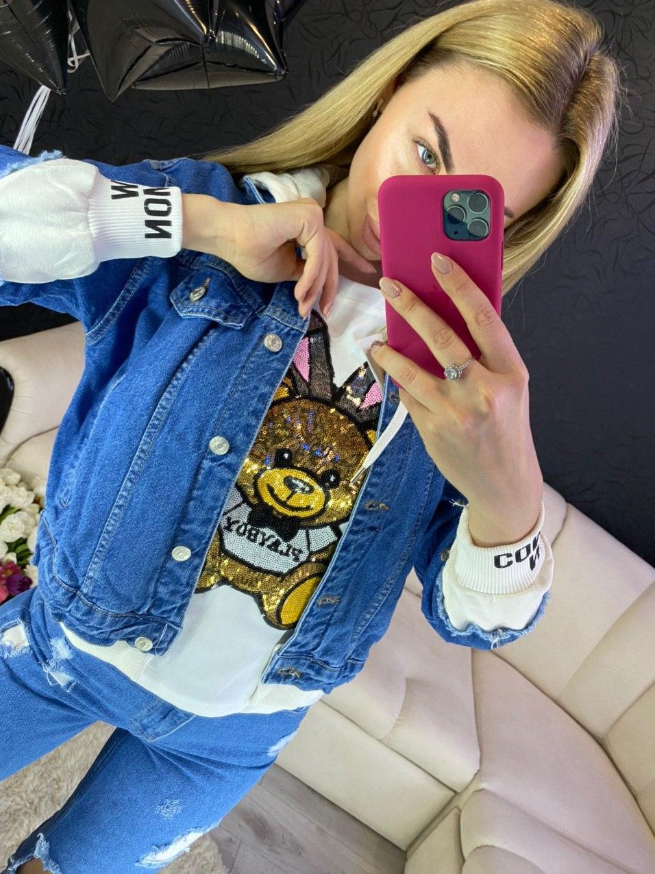 Куртка джинсовая с имитацией толстовки с капюшоном
