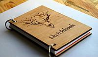 """Деревянный блокнот """"Мудрый Олень"""" ручной работы формат А5 (А6 под заказ), фото 1"""