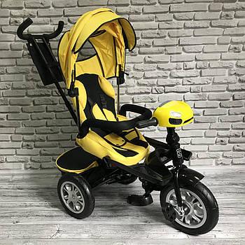 Велосипед трехколесный 5099-1 ткань лен, поворотное сиденье, музыка,надувные колеса (ЖЕЛТЫЙ)