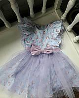 Детское платье-трансформер SUNROZ MiniSize со съемной юбочкой Лавандовый