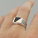 Мужское серебряное кольцо с золотом и ониксом, фото 2