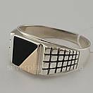 Мужское серебряное кольцо с золотом и ониксом, фото 3