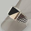 Мужское серебряное кольцо с золотом и ониксом, фото 6