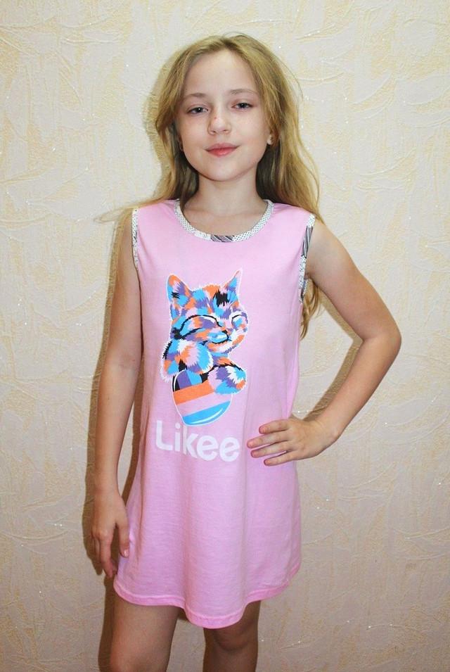 Комплект для девочек ночная рубашка с халатом розовый трикотажный