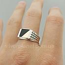 Мужское серебряное кольцо с золотом и ониксом, фото 8
