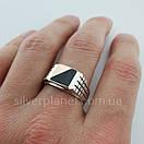 Мужское серебряное кольцо с золотом и ониксом, фото 9