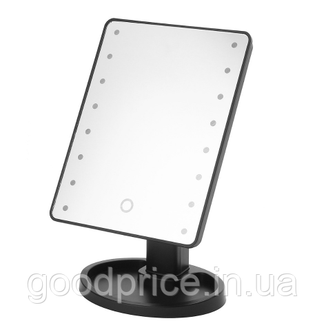 Настольное зеркало для макияжа SUNROZ с LED подсветкой  22 светодиода Черное (0149)