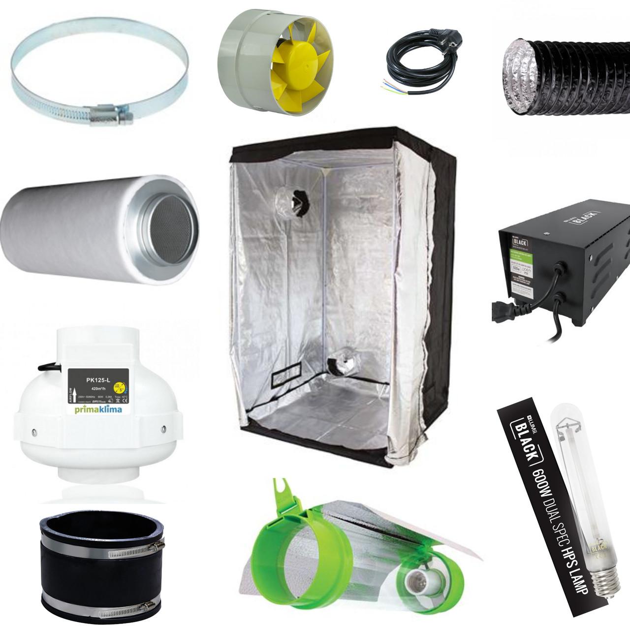 Гроубокс комплект LightHouse Lite 120, ДНАТ 600вт с продувным светильником