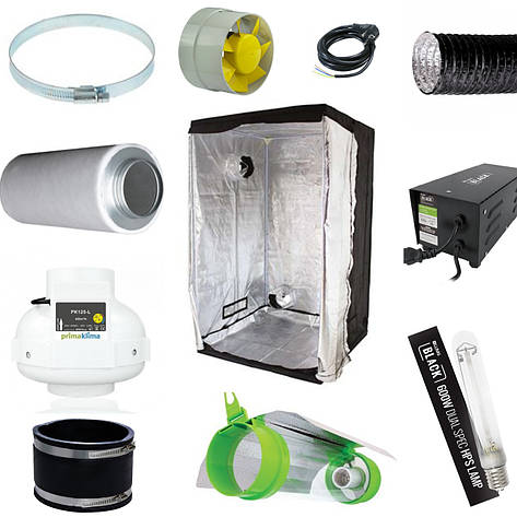Гроубокс комплект LightHouse Lite 120, ДНАТ 600вт с продувным светильником, фото 2