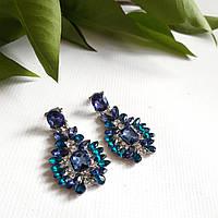 Красивые массивные серьги в синих тонах