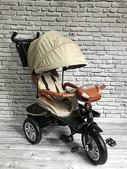 Велосипед трехколесный 5099-1 ткань лен, поворотное сиденье, музыка, надувные колеса (БЕЖЕВЫЙ)