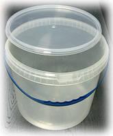 Пластиковое ведро круглое 10л. прозрачное, герметичное, с контрольной пломбой, ручкой и крышкой