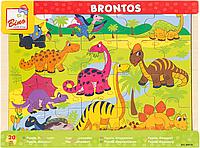 """Детские большие деревянные пазлы Bino """"Динозавры"""" (20 крупных элементов)"""