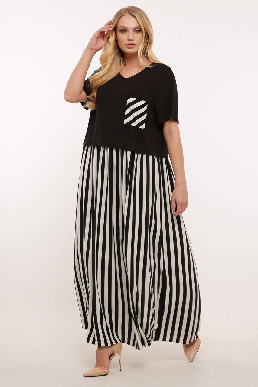 Свободное платье больших размеров в полоску стиль бохо