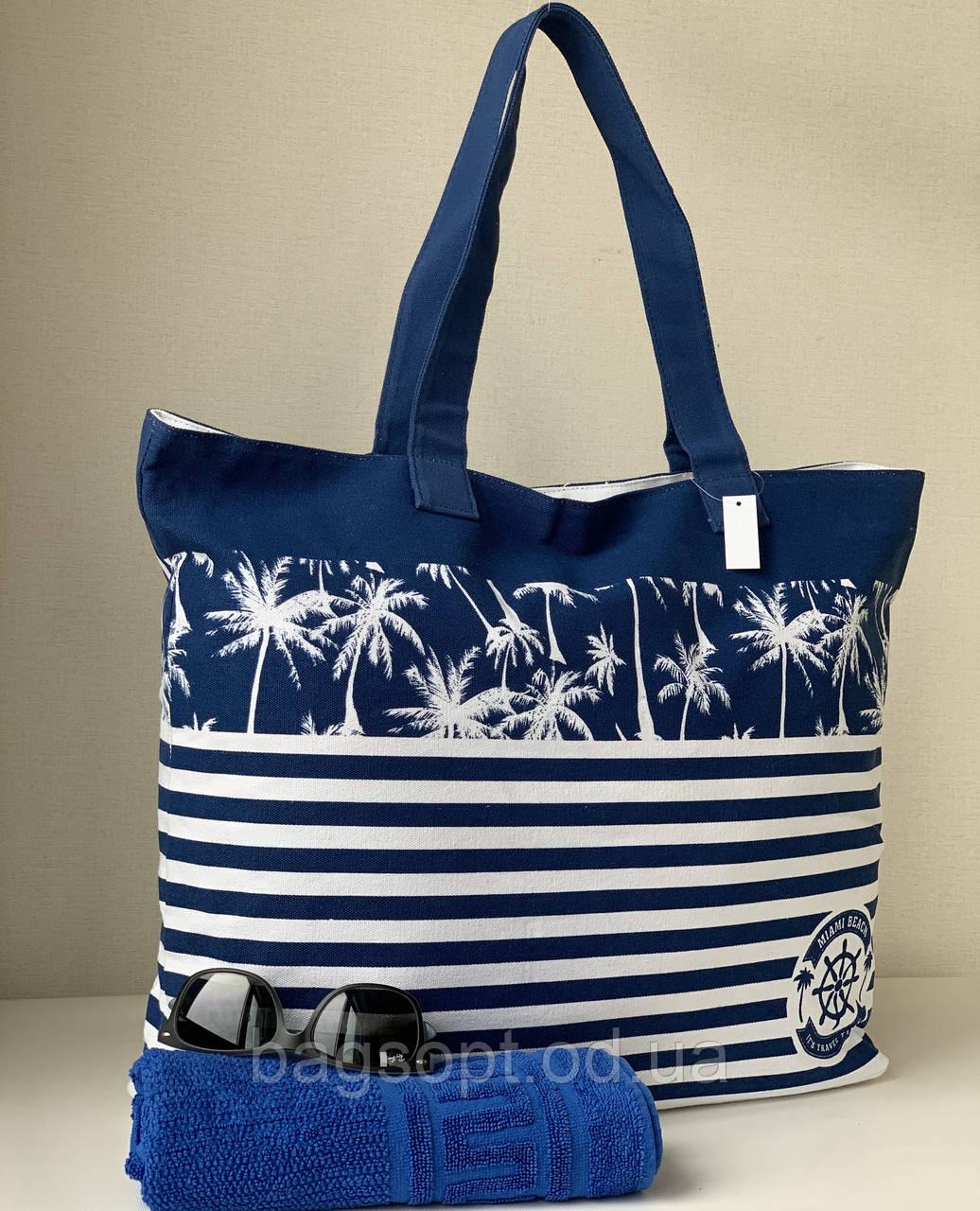 Пляжная тканевая(коттоновая) летняя сумка шоппер в полоску