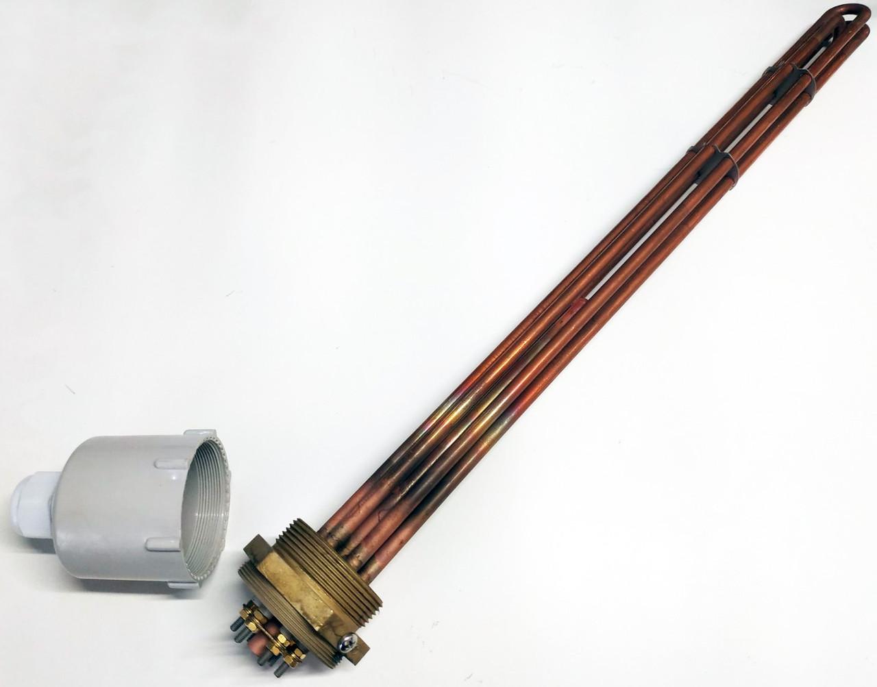 Блок ТЭН прямой медный 15000W/380V для котлов, систем отопления и подогрева воды
