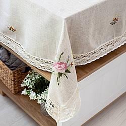 Скатерть с вышивкой цветы 150х225