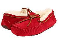 Зимние мокасины женские UGG Dakota Slipper (угги, угг,оригинал) красные на овчине