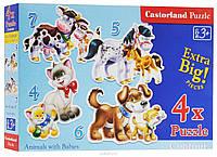 Пазлы Castorland    4х (04096) 23*16,5 см (Собака Кот Лошадь ...)  4-5-6-7