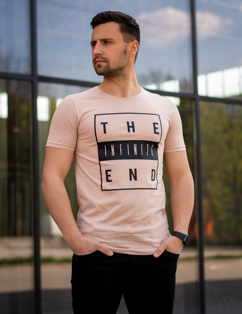 Футболка мужская Infinite.Базовая футболка для мужчин. Летняя футболка.