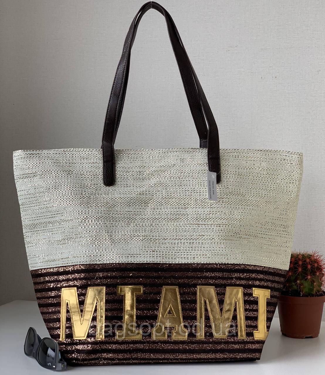 Большая вместительная пляжная сумка летняя яркая