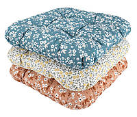 Подушка для стула/табуретки в цветочном принте, 40х40х8h см