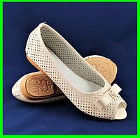 Женские Балетки Летние Бежевые Мокасины Туфли Открытый Носик (размеры: 39,40)