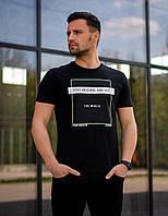 Футболка мужская черного цвета. Базовая футболка для мужчин. Летняя футболка.