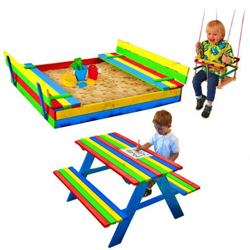 Набор детская деревянная песочница + столик с лавочками + качеля Just Fun (детская игровая площадка)