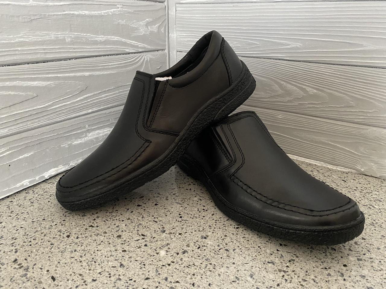 Мужские кожаные туфли Konors Черные, комфорт, прошитые