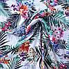Штапель тропические цветы и листья, ш. 140 см