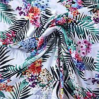Штапель тропические цветы и листья, ш. 140 см, фото 1