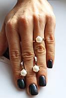Срібний набір з золотими пластинами і Натуральним Річковим Перлами Лора