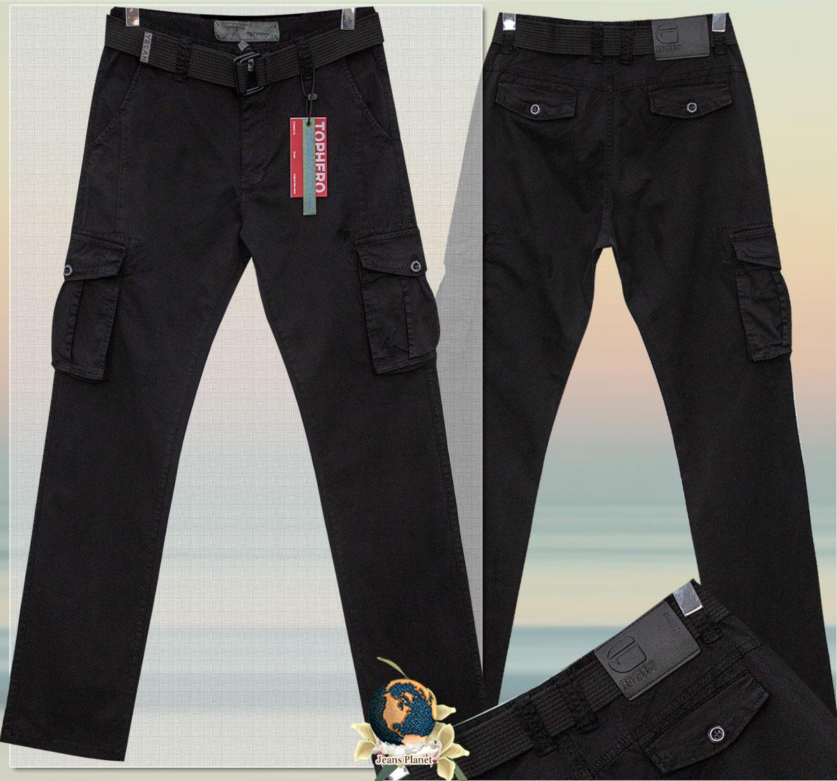 Мужские летние джинсы карго с карманами чёрного цвета  ITENO - TOPHERO